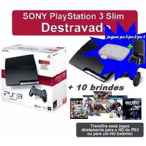 Ps3 Slim 500gb +750 Jogos Destravado+desbloqueado Até Ps2ps1
