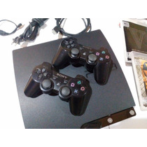 Ps3 Slim 120gb+2controles+hdmi+2jogos Gta5 Bo2