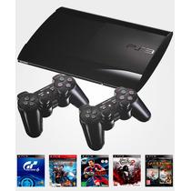 Playstation 3 C/ 5 Jogos Originais + 2 Controles Ps3 Bivolt