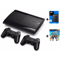 Playstation 3 Super Slim 12gb 2 Controles + Jogo + Hd 500gb