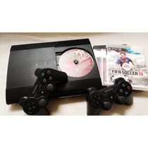 Playstation Ps3 12gb + 2 Controles Wireless + 3 Jogos