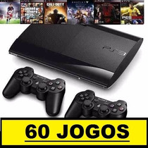 Ps3 Superslim 500 Gb+55 Jogos Originais+2 Controles+ Hdmi