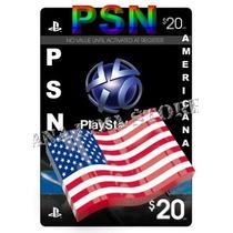Cartão Psn Americana 20 Dolares - Psn Usa 20 Dolares Plus