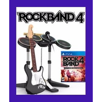 Kit Guitarra+bateria+microfone Rock Band 4 Guitar Hero Ps4