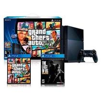 Playstation 4 Hd 500 Gb + 2 Jogos (gta V + The Last Of Us)