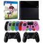 Playstation 4 500gb Preto Ps4 Sony + 2 Controles + Fifa 15