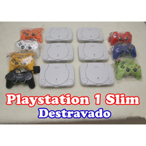 Playstation 1 Slim + Leitor Novo + 2 Controles + Memory Card