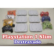 Playstation 1 Slim + Leitor Novo + 2 Controles + Memory Card