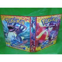 Pasta Fichário Pokemon Xy Pyroar + 20 Folhas + Cards Brinde