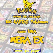 Mega Lote Pokémon Com 100 Cartas + Mega Ex + 1 Booster