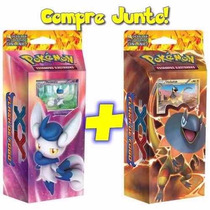 2 Decks Cards Pokémon Xy Flash De Fogo Meowstic Heliolisk :)