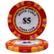 Lote C/ 25 Fichas Vermelhas $5 - Pôquer Poker - 14g Clay