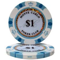 Lote C/ 25 Fichas Brancas $1 - Pôquer Poker - 14g Clay