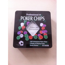 Kit Poker 100 Fichas 2 Baralhos Botão Dealer C/ Caixa No Rj