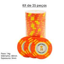 Fichas De Poker Numerada Kit De 25 Peças Cerâmica