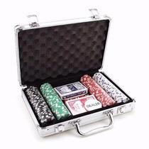 Maleta De Poker 200 Fichas 5 Dados 2 Baralhos 1 Dealer Show