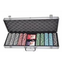 Maleta De Poker 500 Fichas Numeradas Baralhos Kit