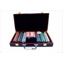 Jogo De Poker 300 Peças Maleta Madeira Profissional Poquer