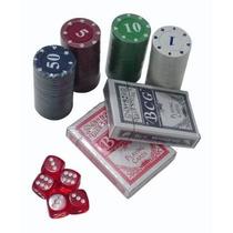 Maleta Poker 100 Fichas Coloridas + 2 Baralhos + 5 Dados