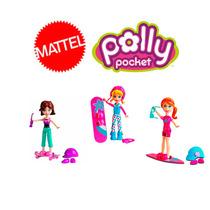 Kit Polly Pocket Com 3 Bonecas Esportes + Acessórios