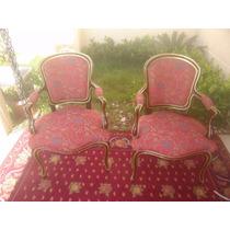 Poltrona Cadeira Luiz Xv Com Tecido Floral Novo