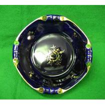 Porcelana Centro De Mesa Antiga Azul C/ Dourado