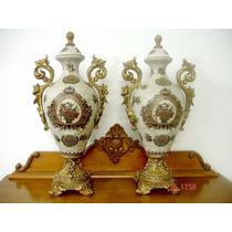 Par De Grandes Ânforas Potiches Em Porcelana Europeia Belas