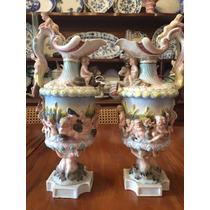 Espetacular Par De Ânforas Em Porcelana Alemã Sitzendorf