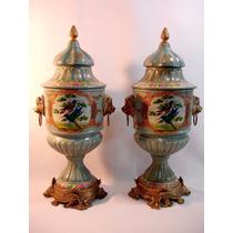 Par De Ânforas Em Porcelana Europeia E Puro Bronze - Belas