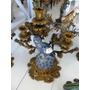 Candelabro 03 Velas Passaro Azul Porcelana E Bronze