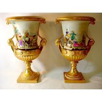Par De Vasos Ânforas Em Porcelana Europeia Extraordinário