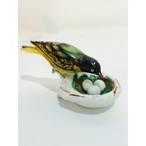Rara Escultura De Porcelana Pássaro No Ninho -anos 50/60.
