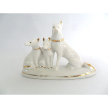 Cachorro Bibelô Antigo De Porcelana Filetada
