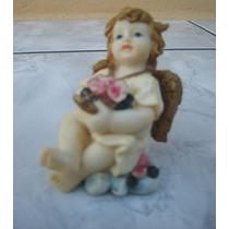 Anjo Sentado C/ Flores - 7,5 Cm