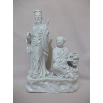 B. Antigo - Estatueta De Casal Chinês Em Porcelana Branca