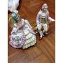 Esculturas De Porcelana Dama E Cavalheiro Assinado Lindo