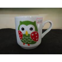 #12668 - Caneca Porcelana Decorada, Coruja Verde!!!