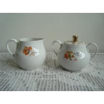Açucareiro E Cremeira Porcelana Branca Mauá Decoração Floral
