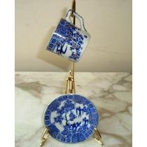 Linda Xícara De Café, Porcelana Azul E Branca Com Andorinhas