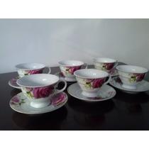 Conjunto De Xícaras P/ Chá Em Porcelana.