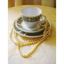 Rara Xicara De Chá Com Prato De Bolo Porcelana Verde Inglês