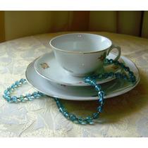 Bela Xicara De Chá Com Prato De Bolo Porcelana Real- Anos 50