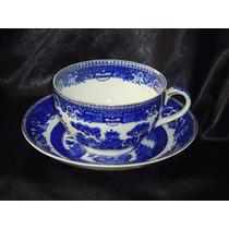 Rara Xícara Art Noveau Chá Porc.inglesa Blue Old Willow,19th