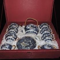 Conjunto De Chá Porcelana Chinesa Branca Azul E Dourado