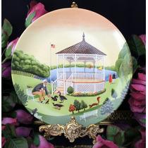 Belo E Raro Prato Decorativo Pintura Naif Parque