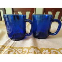 Par De Canecas Vidro Azul - Antigo. 9,5cm