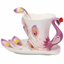 Xícara Única Porcelana Chinesa Antiga Café Chá Formato Pavão