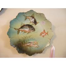Antigo Prato Em Porcelana Alemã Pint. À Mão,perfeito
