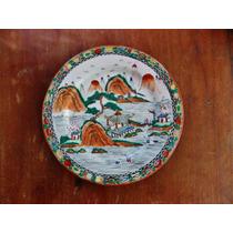 Prato Porcelana Chinesa Paisagem Oriental Pint. À Mão