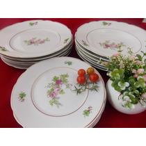 Conjunto Pratos Porcelana Real - 5 Rasos, 6 Fundos E 6 Bolo